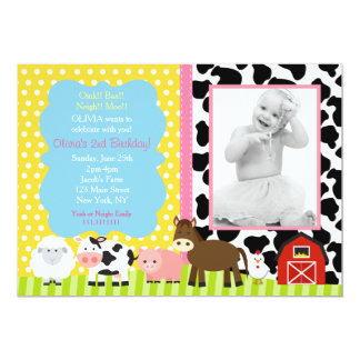 Pink Farm Barnyard Birthday Party Invitations