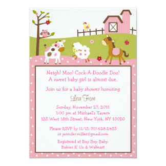 Pink Farm Girls Custom Baby Shower Invitations