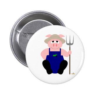 Pink Farmer Pig 6 Cm Round Badge