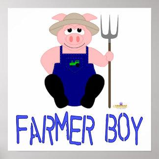 Pink Farmer Pig Blue Farmer Boy Poster
