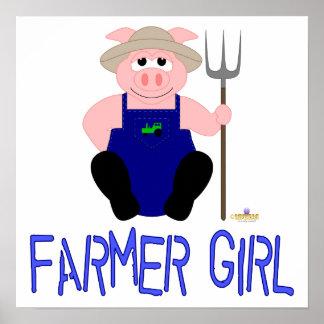 Pink Farmer Pig Blue Farmer Girl Posters