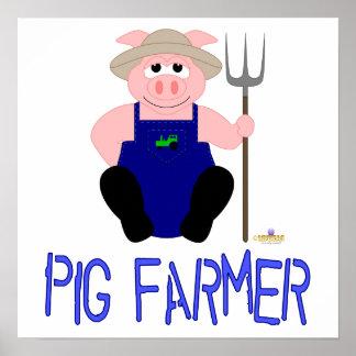 Pink Farmer Pig Blue Pig Farmer Poster