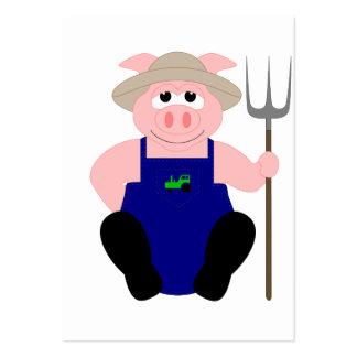 Pink Farmer Pig Business Card Templates