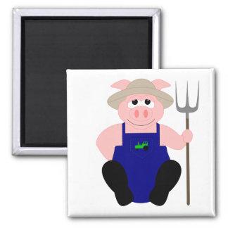 Pink Farmer Pig Fridge Magnets