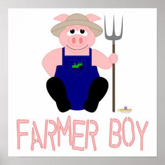 Pink Farmer Pig Pink Farmer Boy Posters