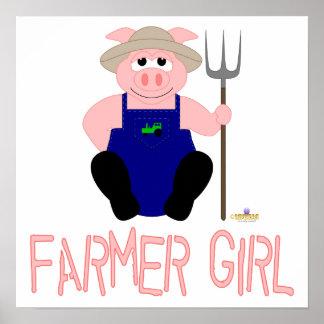 Pink Farmer Pig Pink Farmer Girl Print