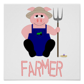 Pink Farmer Pig Pink Farmer Poster