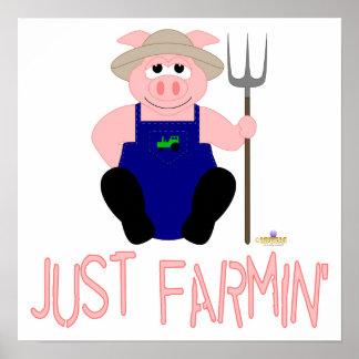 Pink Farmer Pig Pink Just Farmin' Poster