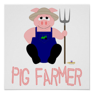 Pink Farmer Pig Pink Pig Farmer Posters