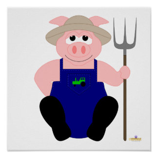 Pink Farmer Pig Print
