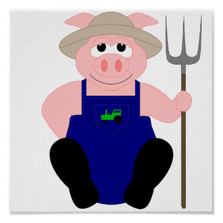 Pink Farmer Pig Poster