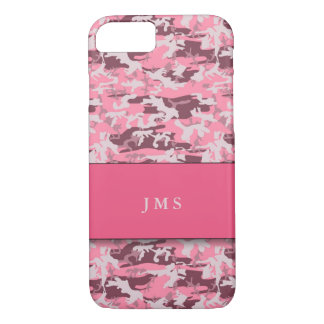 Pink Faux-Camouflage with Monogram iPhone 8/7 Case