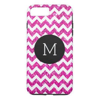 Pink Faux Glitter Chevron Pattern Girly Monogram iPhone 7 Plus Case