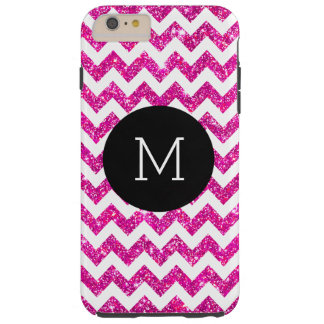 Pink Faux Glitter Chevron Pattern Girly Monogram Tough iPhone 6 Plus Case
