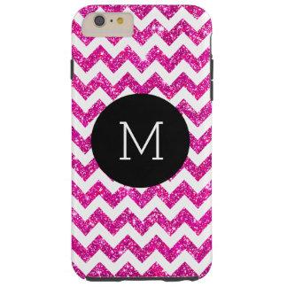 Pink Faux Glitter Chevron Pattern Girly Monogram Tough iPhone 6 Plus Case