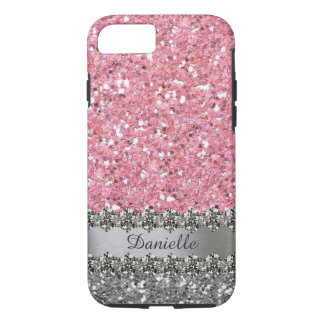 Pink Faux Glitter Diamond Bling Personalized iPhone 8/7 Case