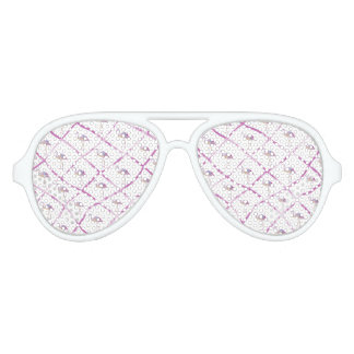 Pink faux glitter flamingos watercolor stripes aviator sunglasses