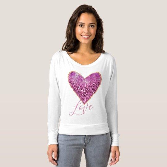 Pink Faux Glitter Gold Border Heart Love T-Shirt