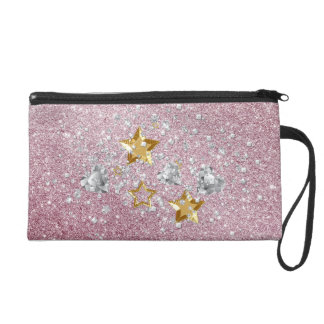 Pink Faux Glitter Gold & Silver Stars & Hearts Wristlet Purses
