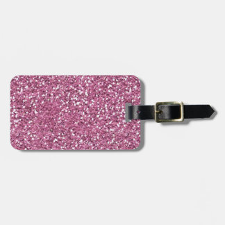 Pink Faux Glitter Luggage Tag