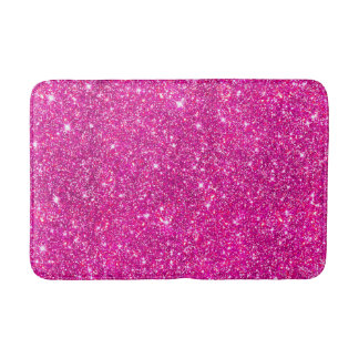 Pink Faux Glitter Sparkle Pattern Girly Bath Mat