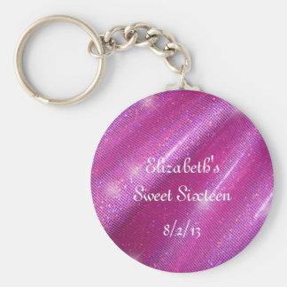 Pink, Faux Glitter, Sweet Sixteen Favor Key Ring