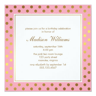 Pink Faux Gold Foil Polka Dots Pattern 13 Cm X 13 Cm Square Invitation Card