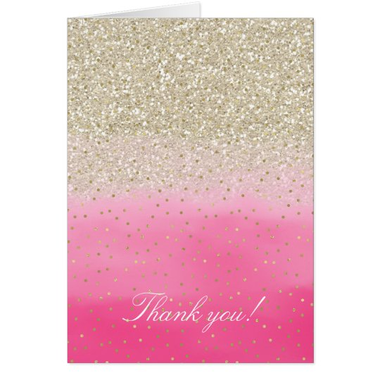 Pink Faux Gold Glitter Confetti Thank you Card