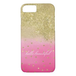 Pink Faux Gold Sparkle Glitter Beautiful iPhone 8/7 Case