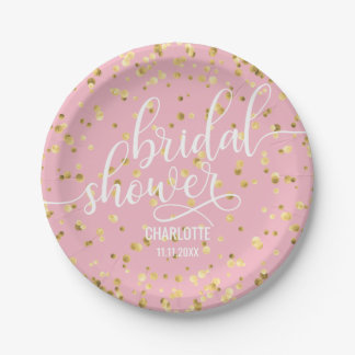Pink Faux Gold White BRIDAL SHOWER Paper Paper Plate