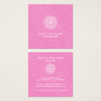 Pink Faux Linen & White Mandala Square Business Card