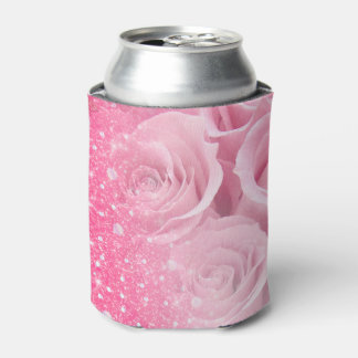 Pink Faux Sparkly Glitter Rose For Women And Girls Can Cooler