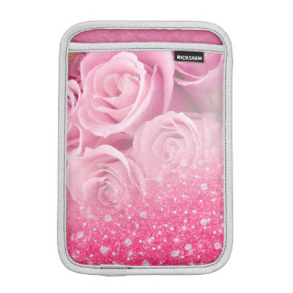 Pink Faux Sparkly Glitter Rose For Women And Girls iPad Mini Sleeve