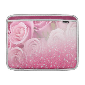 Pink Faux Sparkly Glitter Rose For Women And Girls MacBook Sleeve