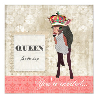 Pink Fawn Queen for the Day White Invitation