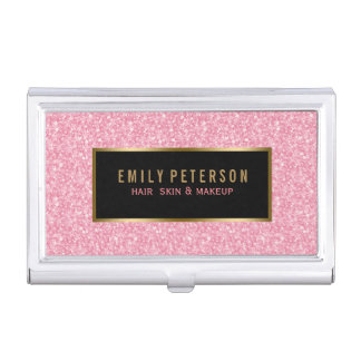 Pink Fax Glitter With Black & Gold Accents Business Card Holder