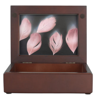 PINK FEATHER KEEPSAKE GIFT BOX MEMORY BOX