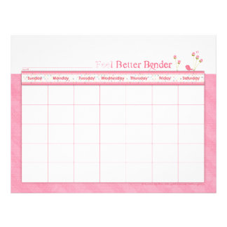 Pink Feel Better Binder Calendar Flyer