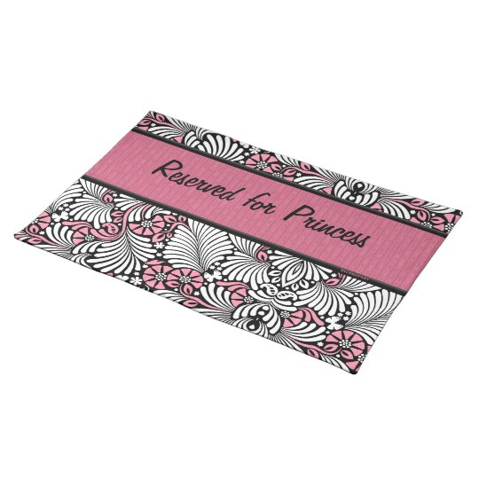 Pink Fern Cat Personalised for Pet Place Mat