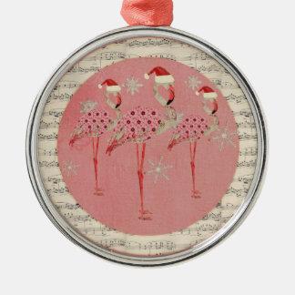 Pink Festive Flamingos  Snowflakes Ornament