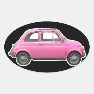 Pink Fiat 500 Cinquecento vintage sixties car Oval Sticker