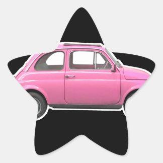 Pink Fiat 500 Cinquecento vintage sixties car Star Sticker