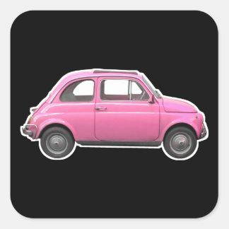 Pink Fiat 500 Cinquecento vintage sixties car Square Stickers