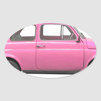 Pink Fiat 500 vintage Italian car Oval Sticker