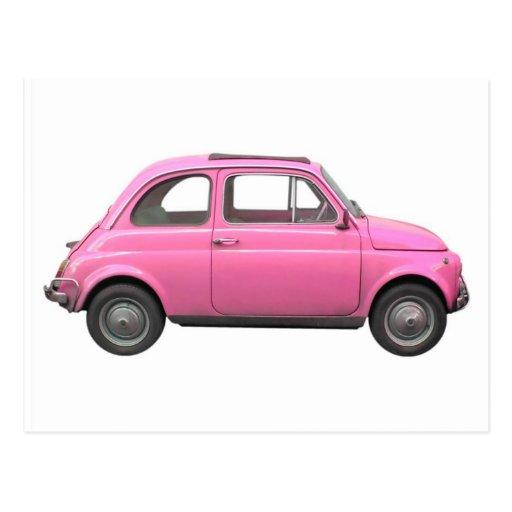 pink fiat 500 vintage italian car postcard zazzle. Black Bedroom Furniture Sets. Home Design Ideas