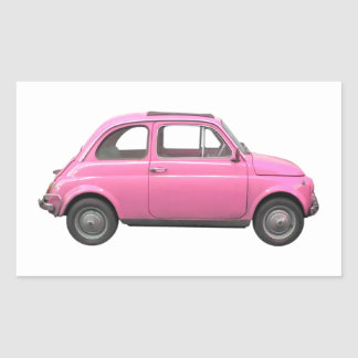 Pink Fiat 500 vintage Italian car Rectangular Sticker