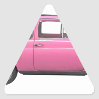 Pink Fiat 500 vintage Italian car Triangle Sticker