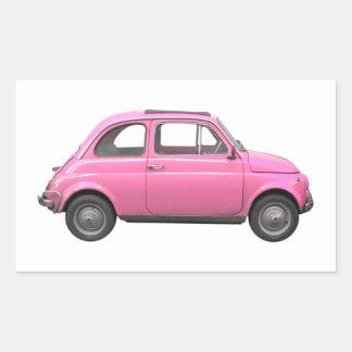 Pink Fiat 500 vintage Italian car Rectangle Sticker