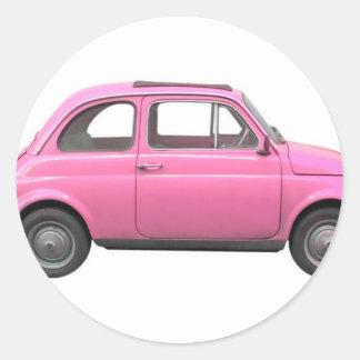 Pink Fiat 500 vintage Italian car Stickers