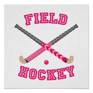 Pink Field Hockey Logo Poster